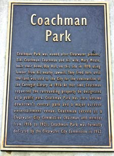 Plaque with the park history engraved on it