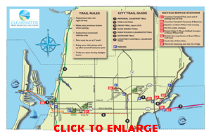 Map of hiking trails in Clearwater