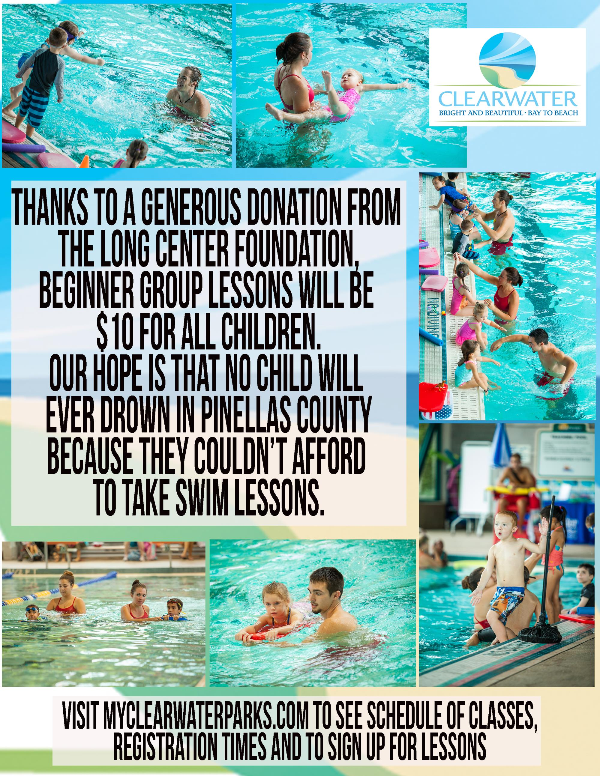 Poster for clearwater learn to swim class